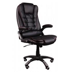 Fotel biurowy BRUNO czarny (czerwona nić) z masażem